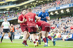 October 7, 2017 - Dublin, Ireland - Munster players celebrate scoring during the warm-up during the Guinness PRO14 match between Leinster Rugby and Munster Rugby at Aviva Stadium in Dublin, Ieland on October 7, 2017  (Credit Image: © Andrew Surma/NurPhoto via ZUMA Press)