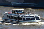 London, England, the United Kingdom, July 15, 2021: General views show public river transport in central London on Thursday, July 15, 2021. England prepares to lift all covid restrictions from 19th July amid different approaches to mask-wearing from local governments to private companies. The UK recorded more than 50.000 covid cases this week, the highest daily number in months. (VX Photo/ Vudi Xhymshiti)