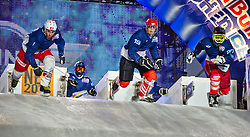 03-02-2012 SKATING: RED BULL CRASHED ICE WORLD CHAMPIONSHIP: VALKENBURG<br /> (L-R) Kilian Braun SUI, Andreas Ruegge SUI, Janis Lutholf SUI during a traing session<br /> ©2012-FotoHoogendoorn.nl/Peter Schalk