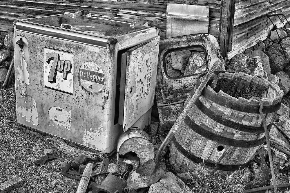 Vintage 7up Dr Pepper Cooler Among Rusting Artifacts - Eldorado Canyon - Nelson NV - HDR -  Black & White