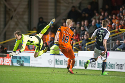 Raith Rovers sub keeper Conor Brenan and Dundee United's Thomas Mikkelsen. Dundee United 3 v 0 Raith Rovers, Scottish Championship game played 4/2/2017 at Dundee United's stadium Tannadice Park.