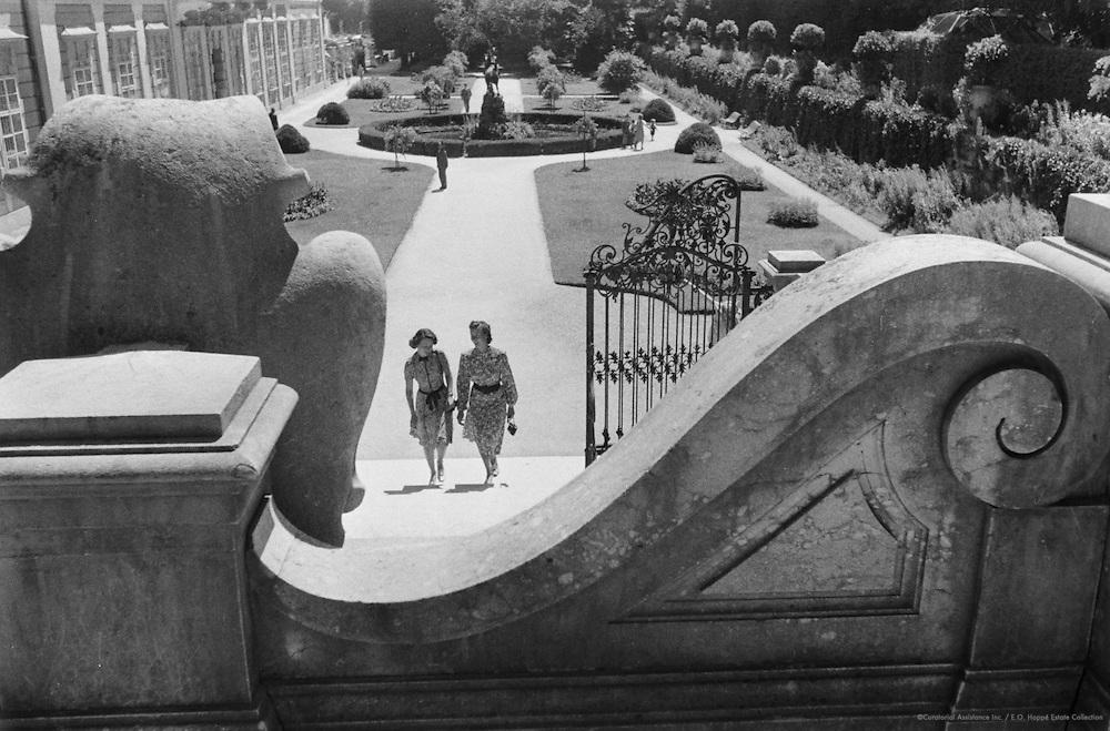 Women in gardens of Mirabelle Castle, Salzburg, Austria, 1938
