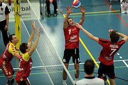 19-02-2011 VOLLEYBAL: PRINS VCV - DRAISMA DYNAMO: VEENENDAAL<br /> Dynamo wint vrij eenvoudig met 3-0 van VCV / Rowan van Vreede (#1), Damian Hoogland (#7), Jarik Niebeek (#5) en Niels Plinck (#8)<br /> ©2011-WWW.FOTOHOOGENDOORN.NL