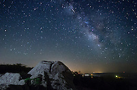 On May 6, the earth's orbit brought it through debris left behind by Halley's Comet. This caused the annual Eta Aquarid meteor shower. There aren't very many meteors visible in the northern hemisphere. But I did capture one from the top of Bald Knob in Missouri.<br /> <br /> Date Taken: May 6, 2014
