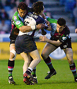 Twickenham, England. George HARDER and right Chris BELL combine to tackle., XXXXX during the Zurich Premiership. Harlequins vs Rotherham Titans The Stoop Surrey. 16.04.2004. [Mandatory Credit: Peter Spurrier/Intersport-images].