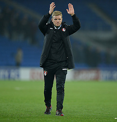 Bournemouth Manager, Eddie Howe claps the traveling fans after the final whistle.  - Photo mandatory by-line: Alex James/JMP - Mobile: 07966 386802 - 17/03/2015 - SPORT - Football - Cardiff - Cardiff City Stadium - Cardiff City v AFC Bournemouth - Sky Bet Championship