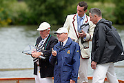 Henley on Thames. United Kingdom.  Umpires Launch, Officials at the rear of the craft, report and send information about the race. 2013 Henley Royal Regatta, Henley Reach.  Wednesday  03/07/2013  [Mandatory Credit Peter Spurrier/ Intersport Images]