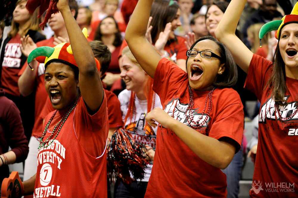 18 MAR 2011:  Fans of the Washington University - St. Louis cheer on their team against Illinois Wesleyan University during the 2011 NCAA Women's Division III <br /> Basketball Championship held on the campus of the Illinois Wesleyan University in Bloomington, IL. Washington - St. Louis defeated Illinois Wesleyan 87-77 to advance to the final. © Brett Wilhelm