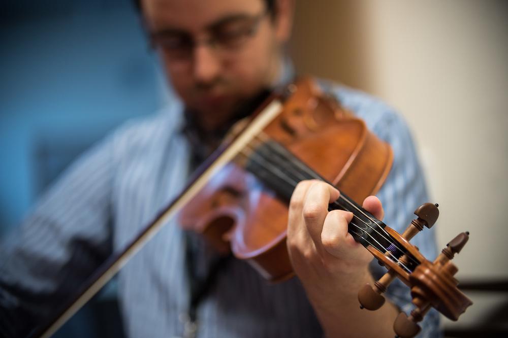 20 September 2016, Coatbridge, Scotland: Iain McLarty playing the violin during prayers, at the World Council of Churches consultation on spirituality, worship and mission - Searching for ecumenical spirituality of the Pilgrimage of Justice and Peace. The consultation was convened by the World Council of Chuches, at the Conforti Institute in Coatbridge, Scotland.