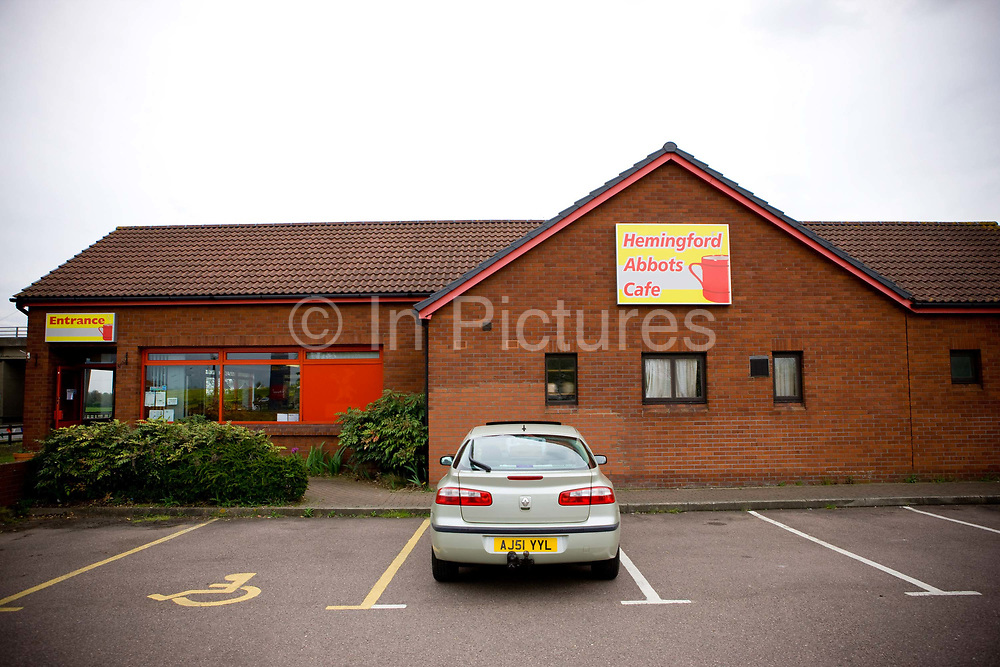 Once part of the Little Chef chain, this roadside cafe along the A14 is now called Hemingford Abbots Cafe. The proprietor owns this location and two other roadside cafes in Cambridgshire on the 29th April 2010 in Hemingford Abbots in the United Kingdom.
