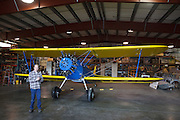 Jay telling visitors about the Stearman 70 prototype at WAAAM.