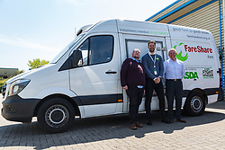 Kent Operations Manager Paul Underdown, right, Asda Spokesperson Tim Scott and  Medway Street Angels founder Neil Charlick, left, at the opening of FareShare's relocated warehouse in Ashford, Kent. Ashford, Kent, May 23 2019.