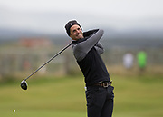 4th October 2017, The Old Course, St Andrews, Scotland; Alfred Dunhill Links Championship, practice round; Actor Matthew Goode tees off on the seventeenth hole during a practice round before the Alfred Dunhill Links Championship on the Old Course, St Andrews