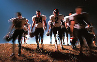 Members of the Oakmont Football team leave the field while losing to crosstown rivals Roseville during their game at Oakmont High Friday Nov. 11. 1999.