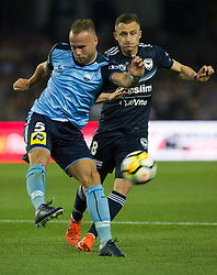 October 7, 2017 - Melbourne, Victoria, Australia - Jordy Bujis (#5) of Sydney FC and Besart Berisha (#8) of Melbourne Victory in action during the round 1 match between Melbourne Victory and Sydney FC at Etihad Stadium in Melbourne, Australia during the 2017/2018 Australian A-League season. (Credit Image: © Theo Karanikos via ZUMA Wire)