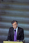 Nobel Peace Laureate Elie Wiesel and Founding Chairman of the US Holocaust Memorial Council attends the opening ceremony for the Conference on Holocaust-Era Assets at the US Holocaust Museum November 30, 1998 in Washington, DC.