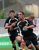 Photo: Paul Greenwood.<br />Blackpool v Bristol City. Coca Cola Championship. 18/08/2007.<br />Bristol substitute Scot Murray celebrates his goal