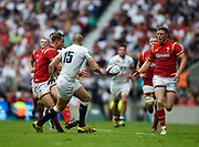 Wales' Hallam Amos feeds the ball to Rhys Priestland during the The Old Mutual Wealth Cup match England -V- Wales at Twickenham Stadium, London, Greater London, England on Sunday, May 29, 2016. (Steve Flynn/Image of Sport)