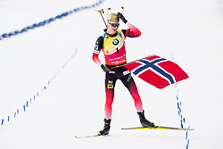 March 24, 2019 - Oslo, NORWAY - 190324 Johannes Thingnes Bø of Norway celebrates after the men's 15 km mass start during the IBU World Cup on March 24, 2019 in Oslo..Photo: Jon Olav Nesvold / BILDBYRÃ…N / kod JE / 160428 (Credit Image: © Jon Olav Nesvold/Bildbyran via ZUMA Press)