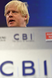 © Licensed to London News Pictures. 19/11/2012. London, UK Mayor of London Boris Johnson speaks at the CBI (Confederation of British Industry's) conference at Grosvenor House Hotel today 19th October 2012 . Photo credit : Stephen Simpson/LNP