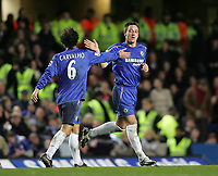 Photo: Lee Earle.<br /> Chelsea v Middlesbrough. The Barclays Premiership.<br /> 03/12/2005. Chelsea's Ricardo Carvalho (L) congratulates John Terry after he scored the only goal of the game.