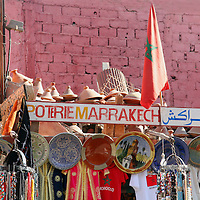 North Africa, Africa, Morocco, Marrakesh. A souvenir shop of traditional Moroccan handicrafts and tourist items.