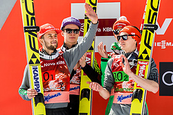 Markus Eisenbichler, Andreas Wellinger, Richard Freitag and Richard Freitag of Germany celebrate at trophy ceremony after placed second  during the Ski Flying Hill Men's Team Competition at Day 3 of FIS Ski Jumping World Cup Final 2017, on March 25, 2017 in Planica, Slovenia. Photo by Vid Ponikvar / Sportida