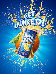 Exciting and explosive project for Rani a leading juice brand in the Middle East. Fresh orange fruit exploding with some orange juice and chunks squirting out.
