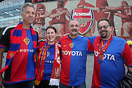 a group of FC Basel fans outside the Emirates Stadium before k/o. UEFA Champions league group A match, Arsenal v FC Basel at the Emirates Stadium in London on Wednesday 28th September 2016.<br /> pic by John Patrick Fletcher, Andrew Orchard sports photography.