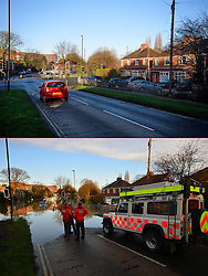 © Licensed to London News Pictures. 27/12/2016. York, UK. Side by side comparison pictures showing Huntington Road in York as it is today, December 27, 2016 (TOP), and exactly a year ago today, on December 27, 2015 (BOTTOM) during the middle of severe flooding. Homes and businesses were destroyed in the flooding over the Christmas period last year. Photo credit: Ben Cawthra/LNP