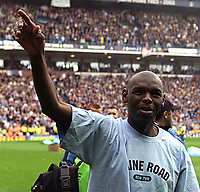 Photo Aidan Ellis.<br />Manchester City v Southampton (FA Barclaycard Premiership).11/05/2003.<br />Shaun Goater says farewell to football.