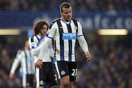 Steven Taylor of Newcastle United looking on dejected .Barclays Premier league match, Chelsea v Newcastle Utd at Stamford Bridge in London on Saturday 13th February 2016.<br /> pic by John Patrick Fletcher, Andrew Orchard sports photography.