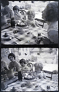mothers having lunch with little children summer countryside vintage 1900s