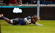 Sale Sharks wing Marland Yarde  dives over to score his first try during a Gallagher Premiership Rugby Union match Sale Sharks -V- Leicester Tigers, Sale won the match 36-3 on Friday, Feb. 21, 2020, in Eccles, United Kingdom. (Steve Flynn/Image of Sport via AP)