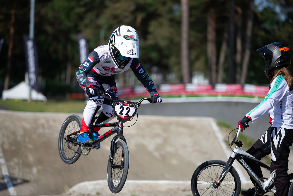 #22 (SMULDERS Merel) NED during practice at Round 5 of the 2018 UCI BMX Superscross World Cup in Zolder, Belgium