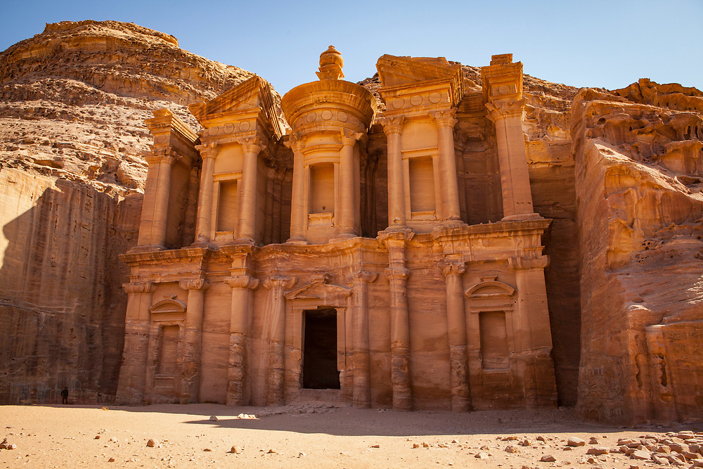 """Low angle view of the Monastery, a facade carved out of stone by the Nabataeans. Currently one of the """"Seven Wonders of the World"""""""