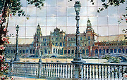 SPAIN, MADRID ceramic tile mural on store front in the Plaza Santa Ana, depicts the Plaza Espana in Seville