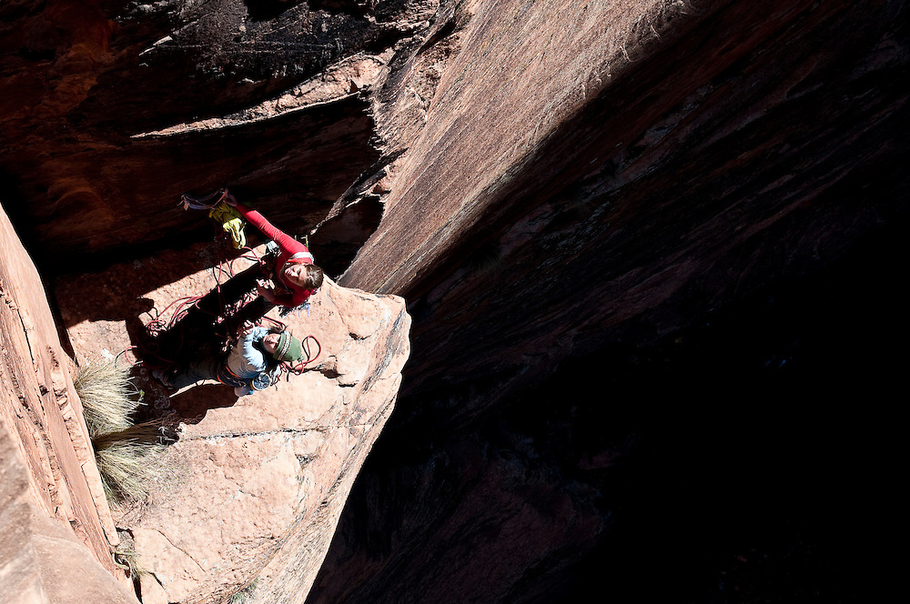 Brittany Griffith and Kate Rutherford attempt to climb The Silverback, IV 5.12+, Zion National Park, UT