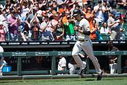 San Francisco Giants left fielder Jarrett Parker (6) hits a home run against the Arizona Diamondbacks at AT&T Park in San Francisco, California, on August 6, 2017. (Stan Olszewski/Special to S.F. Examiner)