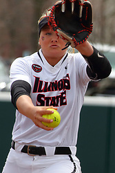 21 April 2018:  Morgan Day during a Missouri Valley Conference (MVC) women's softball game between the Drake Bulldogs and the Illinois State Redbirds on Marian Kneer Field in Normal IL