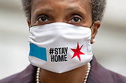 Mayor Lori Lightfoot wears a mask as she prepares to speak about the coronavirus economic recovery plan Thursday, April 23, 2020 at the Historic Water Tower. (Brian Cassella/Chicago Tribune)