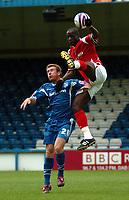 Photo: Tony Oudot.<br /> Gillingham v Charlton Athletic. Pre Season Friendly. 28/07/2007.<br /> Souleymane Diawara of Charlton is challenged to the ball by David Graham of Gillingham