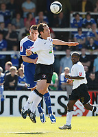 Photo: Steve Bond/Richard Lane Photography. Hereford United v Leicester City. Coca Cola League One. 11/04/2009. Jack Hobbs (L) and Steve Guinan (R) in the air