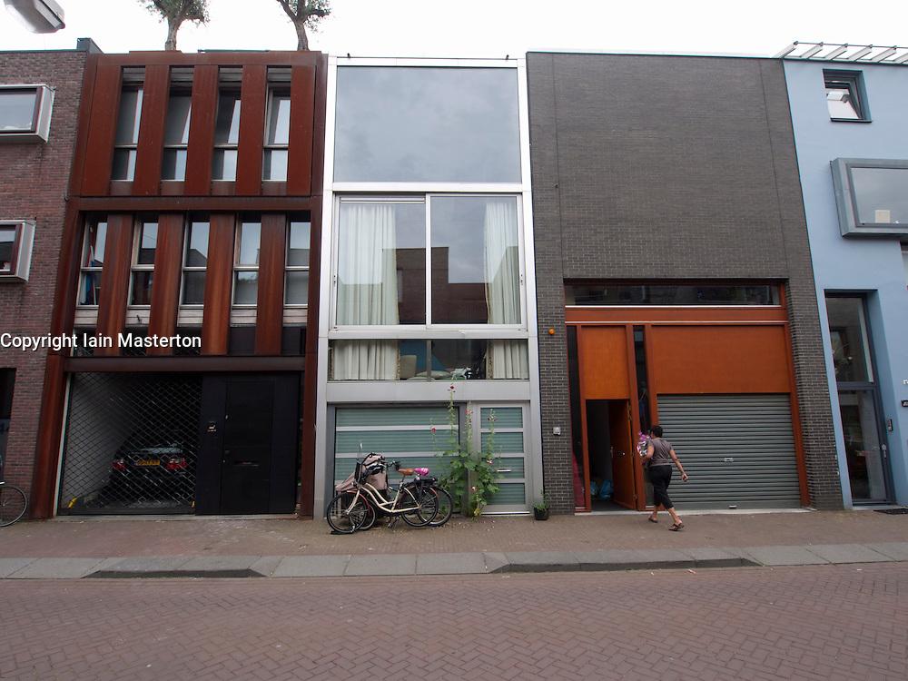 Modern architecture of new houses on Scheepstimmermanstraat in Borneo Island new property development in Amsterdam Netherlands