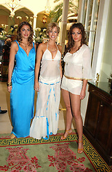 Left to right, LAURE DE CLERMONT-TONNERRE, CAROLINE HABIB and SASKIA BOXFORD at a fashion show of Sybil Stanislaus Summer 2005 collection with jewellery by Philippa Holland held at The Lanesborough Hotel, Hyde Park Corner, London on 13th April 2005.<br /><br />NON EXCLUSIVE - WORLD RIGHTS