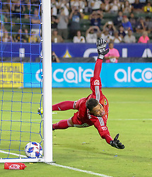 July 7, 2018 - Carson, California, U.S - Goalie, Zack Steffen of the Columbus Crew is unable to stop a ball into goal by Zlatan Ibrahimovic #9 of the LA Galaxy during their MLS game on Saturday July 7, 2018 at StubHub Center in Carson, California. LA Galaxy defeats Crew, 4-0. (Credit Image: © Prensa Internacional via ZUMA Wire)