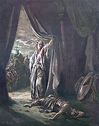 Machine colourized (AI) Jael [Yael] Kills Sisera Judges 4:21 From the book 'Bible Gallery' Illustrated by Gustave Dore with Memoir of Dore and Descriptive Letter-press by Talbot W. Chambers D.D. Published by Cassell & Company Limited in London and simultaneously by Mame in Tours, France in 1866