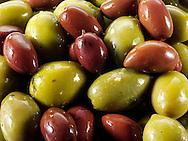 Fresh mixed green & kalamata olives olives photos, pictures & images.