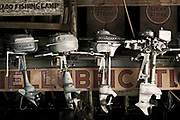 Wall Art Photos of Antique Boat Motors for Sale- Old, vintage boat motors in a Nevada ghost town. Photo by Colin E. Braley