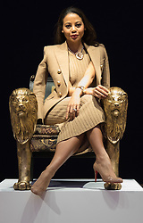 """Bonhams, London, February 29th 2016. Emma, Viscountess Weymouth sits on her Lion chair that she created during a photocall for """"Sitting Pretty"""", featuring unique, hand painted and upholstered chairs made by 30 celebrities and artists, at Bonhams ahead of their auction in support of a leading AIDS charity, CHIVA Africa.<br /> ©Paul Davey<br /> FOR LICENCING CONTACT: Paul Davey +44 (0) 7966 016 296 paul@pauldaveycreative.co.uk"""